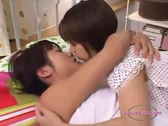 Asian, Kissing, Man tied to bed