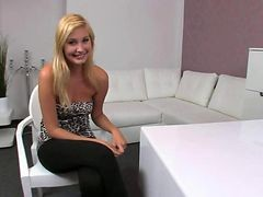 Amateur, Blonde, Casting, Innocent in casting with old man