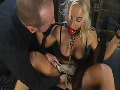 Bus, Blonde, Tied, Son fucks mom tied up and blindfold after dad