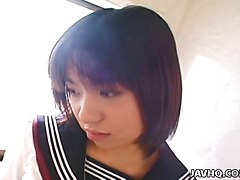 Shy and cute japanese schoolgirl fucked hard after school