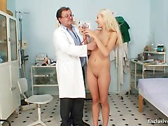 Blonde, Gyno, Babe, Teacher, Watching my wife getting gyno exam