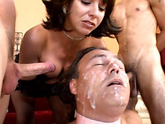 Brutal, Cuckold, Brutal mistress and male torture cumshot