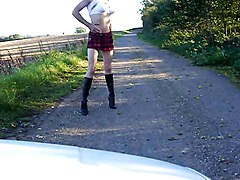 Flashing, Crossdresser, Dress, Dressed undressed women