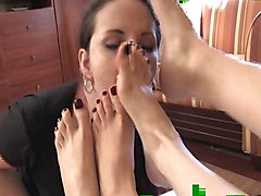 Lesbian, Sister and brother footjob