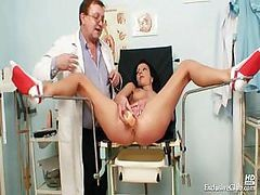 Doctor, Gyno, Teacher, Exam, Sissy crossdresser gets gyno exam