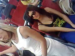 Bus, Italian, Horny girl on chair and other guy rubbing her boobs