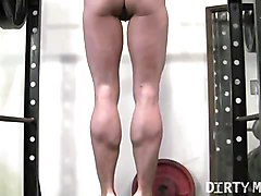 Blonde, Instruction, Gym, Japanese trainer gets erection at the gym