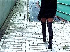 Boots, Leather, A boy is dropped off on a street corner at night dressed as a real sexy woman