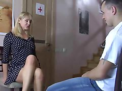 Doctor, Doctor massage teen while her mom waits