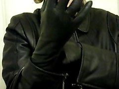 Leather, Gloves, Foxy angel shemale leather gloves