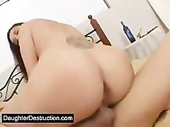 Teen, Cute, Real amateur homemade fat mom fucks her son and gets a creampie