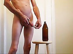 Bottle, Ass, Fisting, Old blonde man