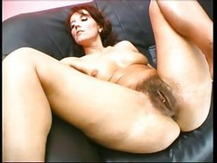 Hairy, Insertion, Amber sunset with two black cocks in pussy