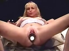 Dildo, Insertion, She insert banana in her asshole