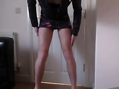 Leather, Tight, Leather mini skirt black seamed stockings