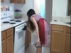 Handjob, Kitchen, Milf, Real mom and son in the kitchen