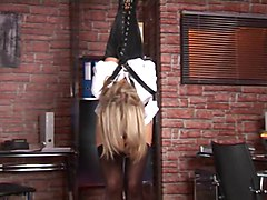 Secretary, Tied, Sasha rose feet tied