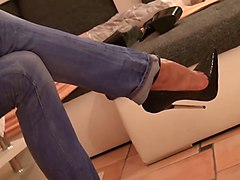 Jeans, Heels, Tight, Black girls jeans spanked