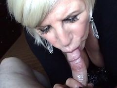 Granny, Blonde, Blowjob, Deepthroat blowjob