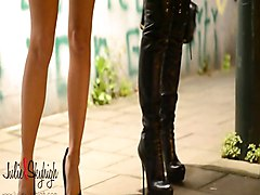 Boots, Leather, Hooker, Black milf leather thong