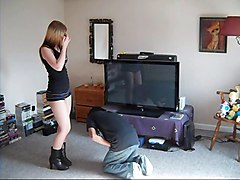 Bus, Teen, Femdom ballbusting kicks and trampled