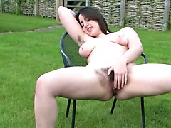 Hairy, Beauty, Kayla kleevage sex with white dildo -video