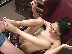 Office, Footjob, Mom gives daughters bf a handjob under the table