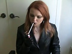 Smoking, Leather, Real mother daughter combo on backroom casting couch