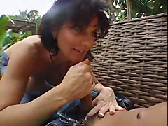 Milf, Cock touches pussy and cums fast