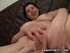 Amateur, Girlfriend, Toys, Facial, Sexy mature mom fucks and sucks his cock