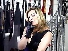 Smoking, Leather, Gloves, Insertions on couch blonde stockings