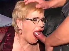 Granny, Glasses, Ass, Facial, Glasses anal
