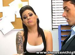 Goth, Teen, Facial, Tattoo, Ffm rough tattooed goth anal threesome