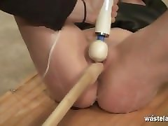 Blonde, Orgasm, Slave, Toys, Model trained to become sex slave