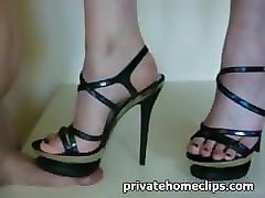 Heels, Indian wife trampling her husbands cock with her high heeled stilettos