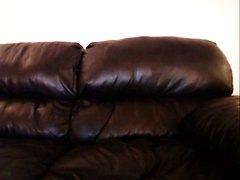 Leather, Redhead, Girl masturbating on blue couch