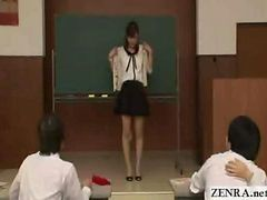 Asian, Japanese, Strip, Teacher, Japanese teacher reluctantly strips nude in front of students