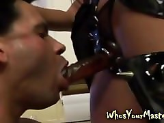 Femdom, Strapon, Two girls fuck guy with strapon