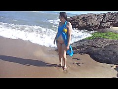 Brazil, Flashing, Wife, Beach, Cuckold in chastity on beach