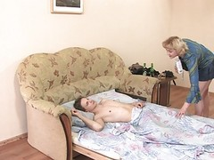 Aunt, Russian aunt seduces sleeping nephew