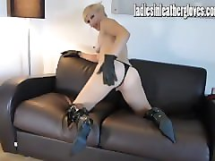 Blonde, Leather, Gloves, Lingerie, Perverted old father in law harass and fucks his daughter in law while his son is away
