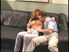 Black, Leather, Tight, Redhead, Busty secretary getting her huge tits and pussy fucked on the couch in the sitting room