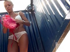 Blonde, Beach, Young girl beach cabin real spy voyeur wc