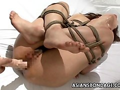 Asian, Beauty, Orgasm, Tied, White wife tied up and punished by bbc