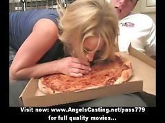 Blonde, Blowjob, Pizza boy fucks his customer