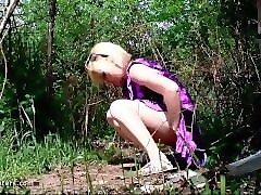 Public, Voyeur, Naked girl peeing outside
