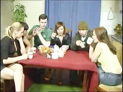 Couple, Russian, Tranny with couples