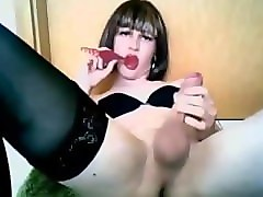 Crossdresser, Masturbation, Jerking, Squirt, Sexy milf picked up on the street