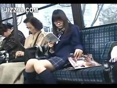 Bus, Seduced, Japanese horny girl on the bus