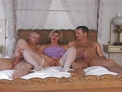 British, Milf, Threesome, Wife first time threesome